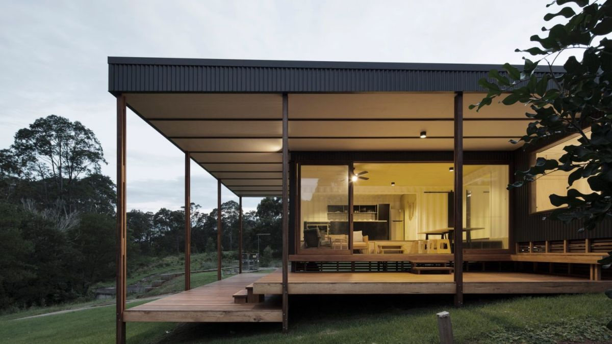 modern container house in a house