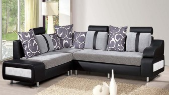 sofa grey combination with dark color with pillows and sofa bed