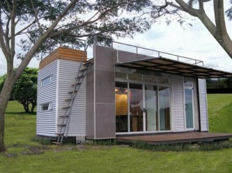 white container house and minimalist