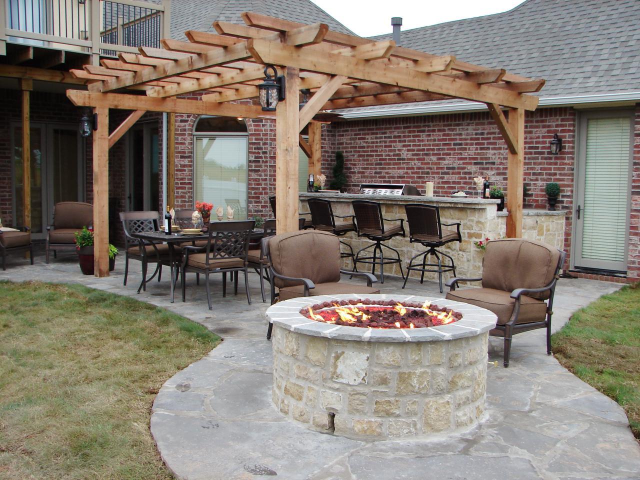 backyard fireplace with stone