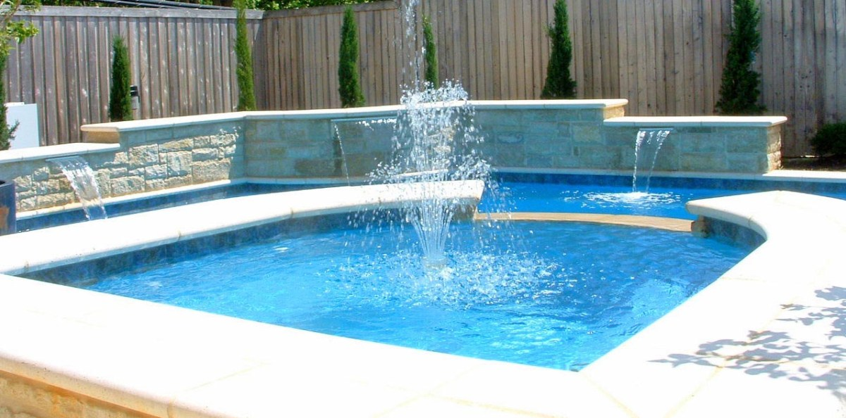 backyard fountain and pool