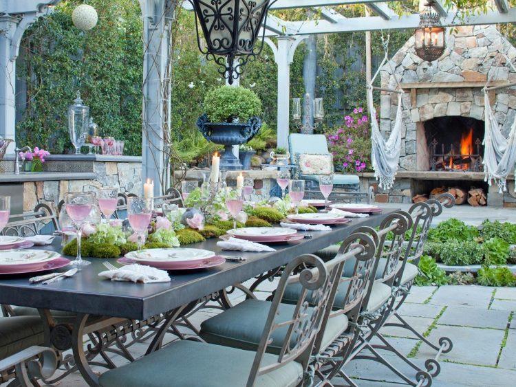 classic backyard dining area
