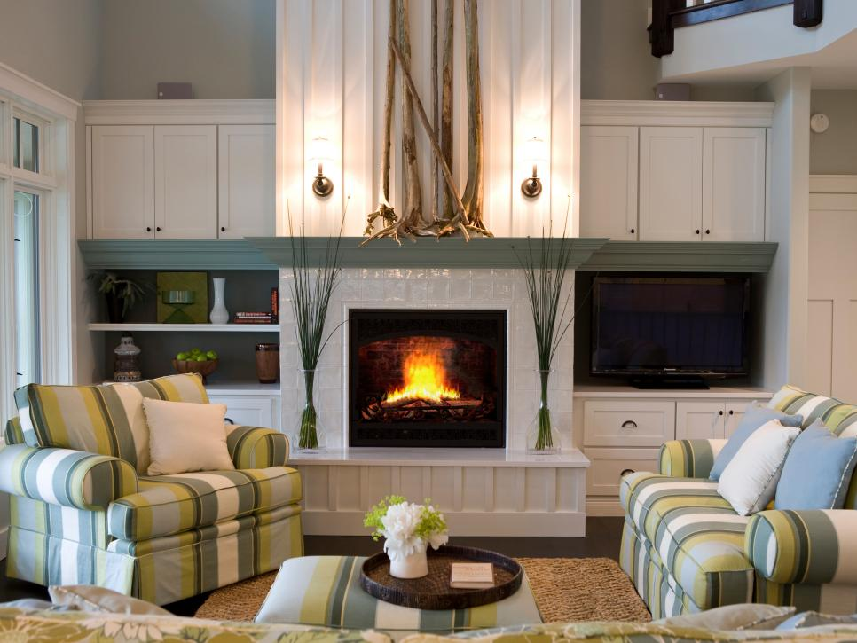 fireplace with shelving