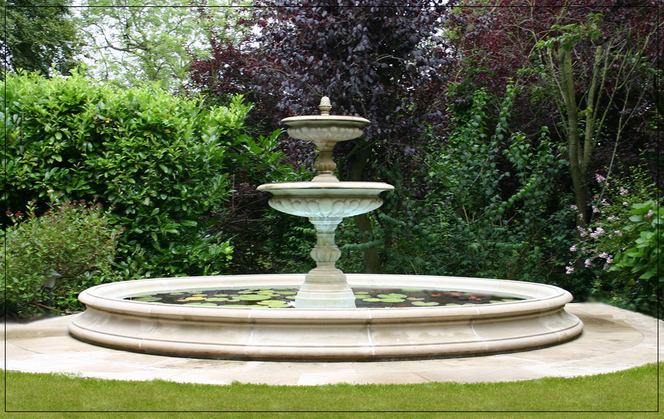 garden fountain and pool