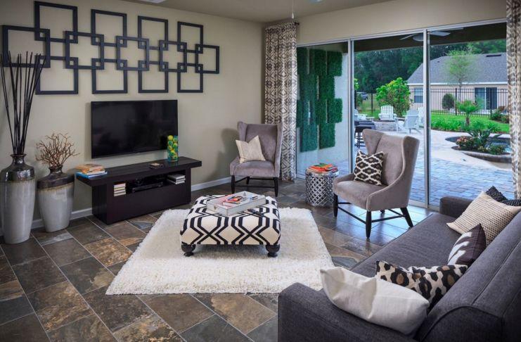 geometric pattern on living room interior design