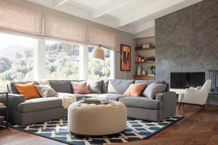 living room with geometric pattern interior design