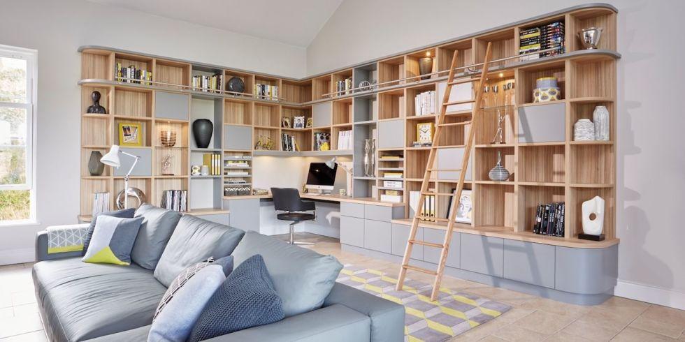 modern living room bookshelf