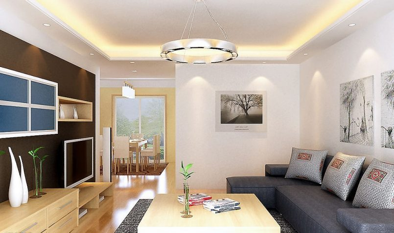 modern minimalist interior design with bright light