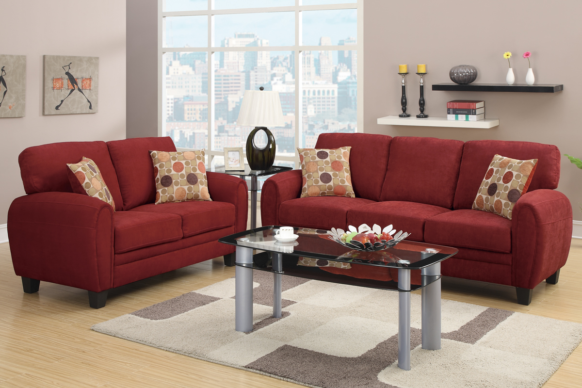 red color sofa design