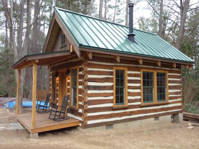 rustic log cabin building