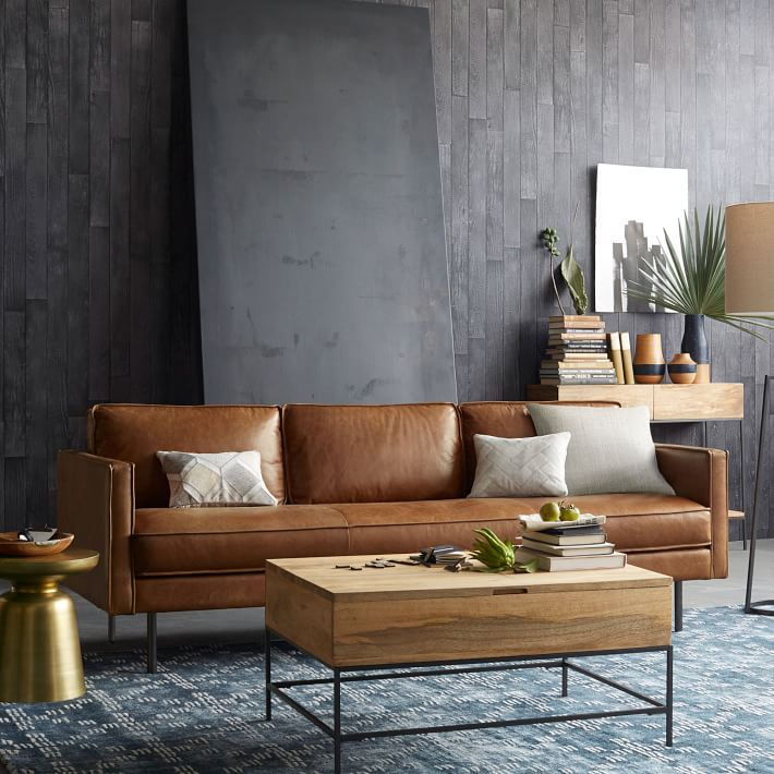 simple leather sofa with wooden table living room ideas