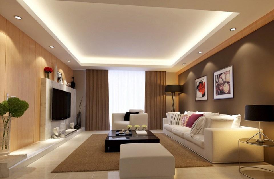 warm lighting family room design and decor