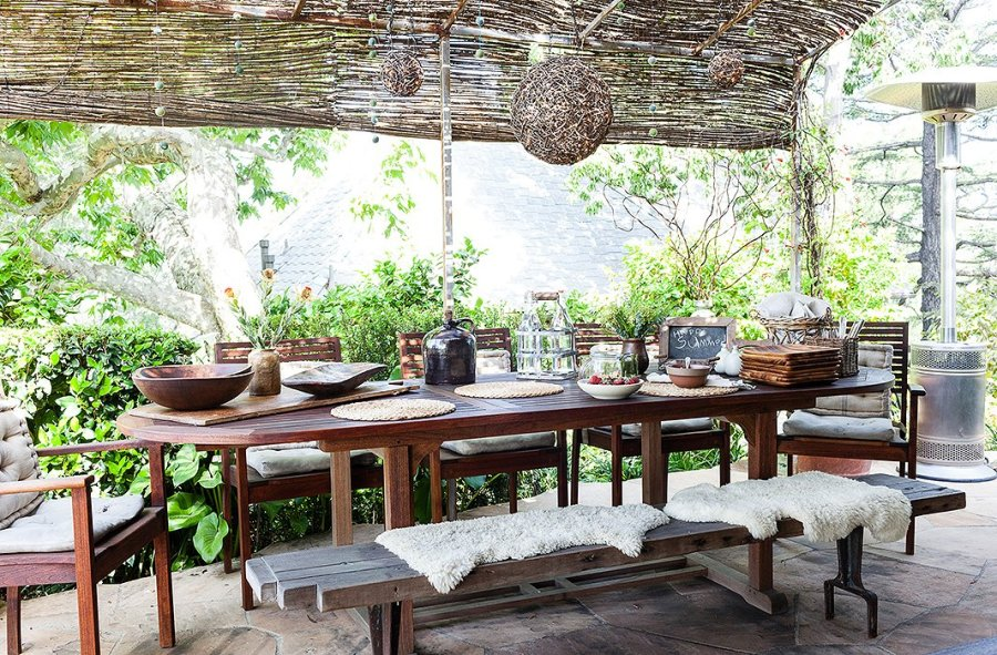 wooden furniture backyard dining areas