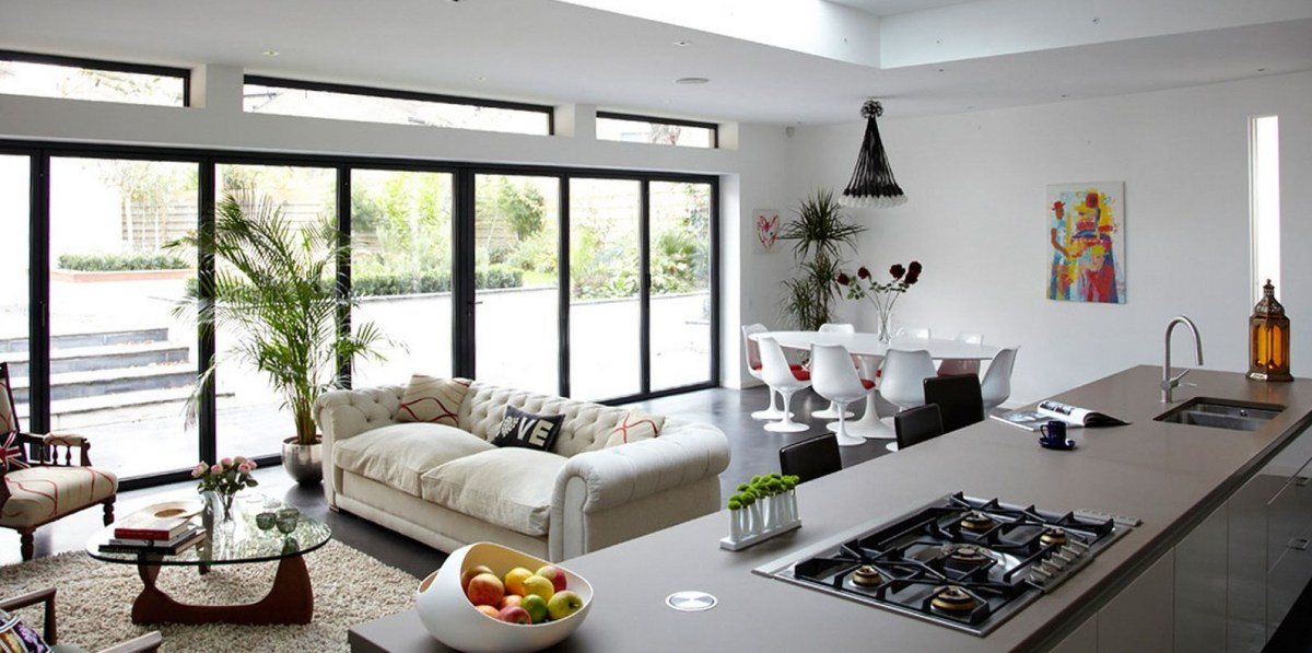 combine living room with kitchen