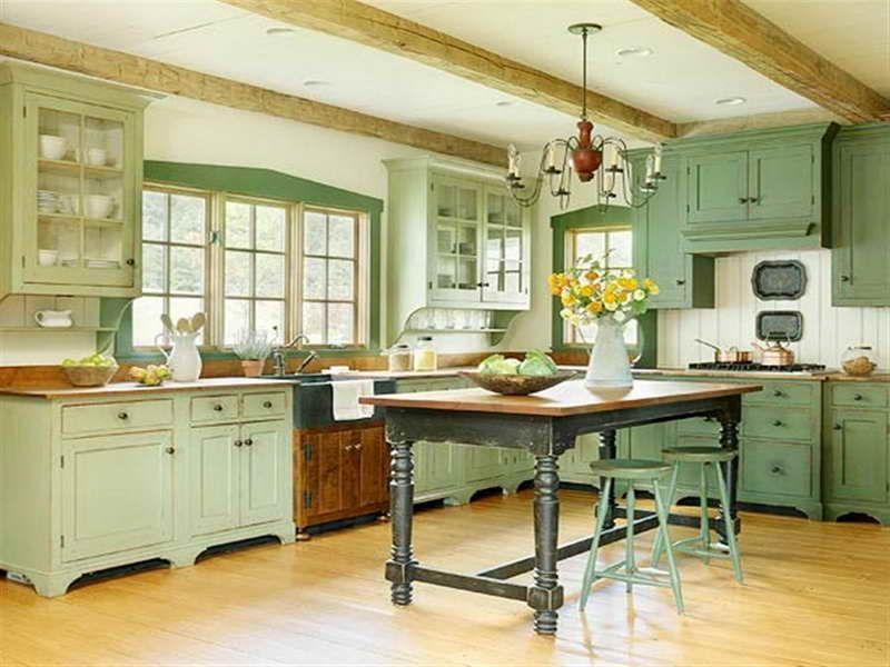 green vintage kitchen cabinets