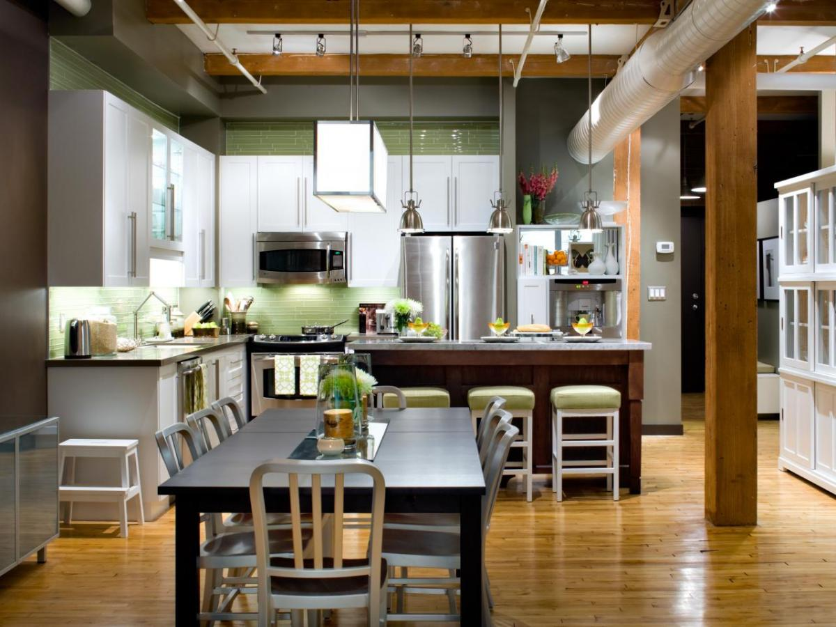kitchen with dining room besides