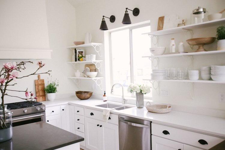 white cabinets black and white design