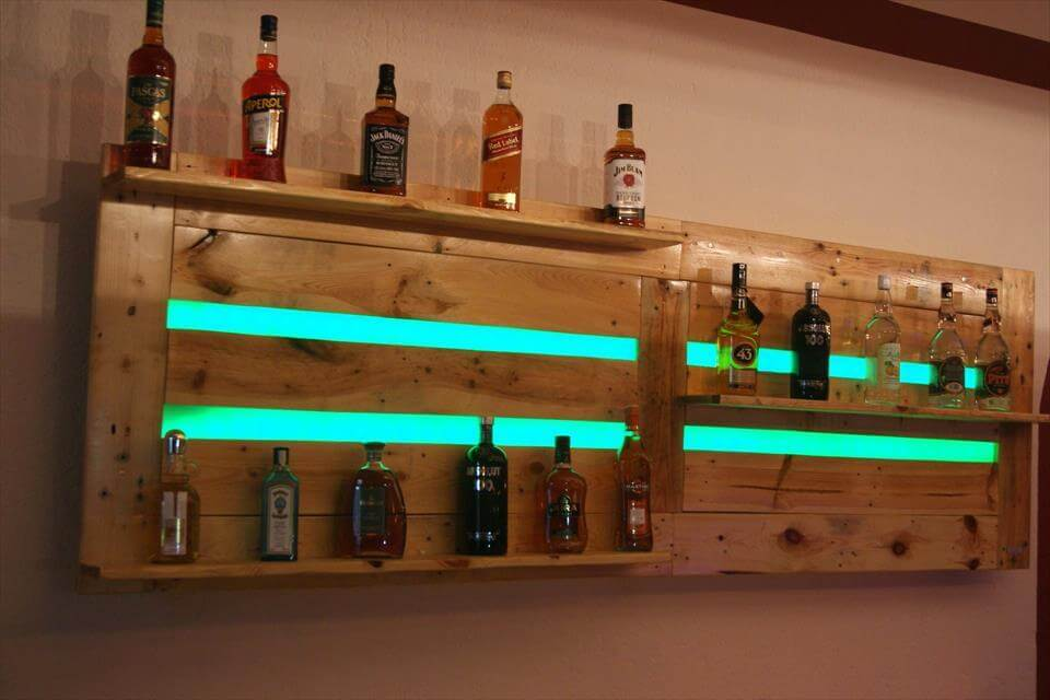 wood pallet bar shelf