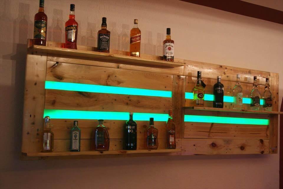 wood pallet bar shelf