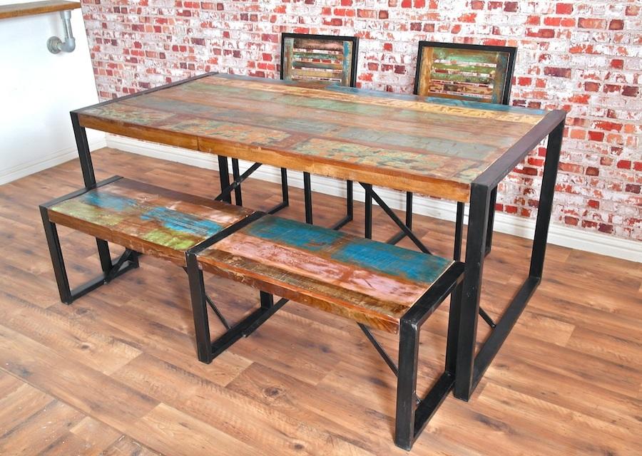 wood and steel table set furniture ideas