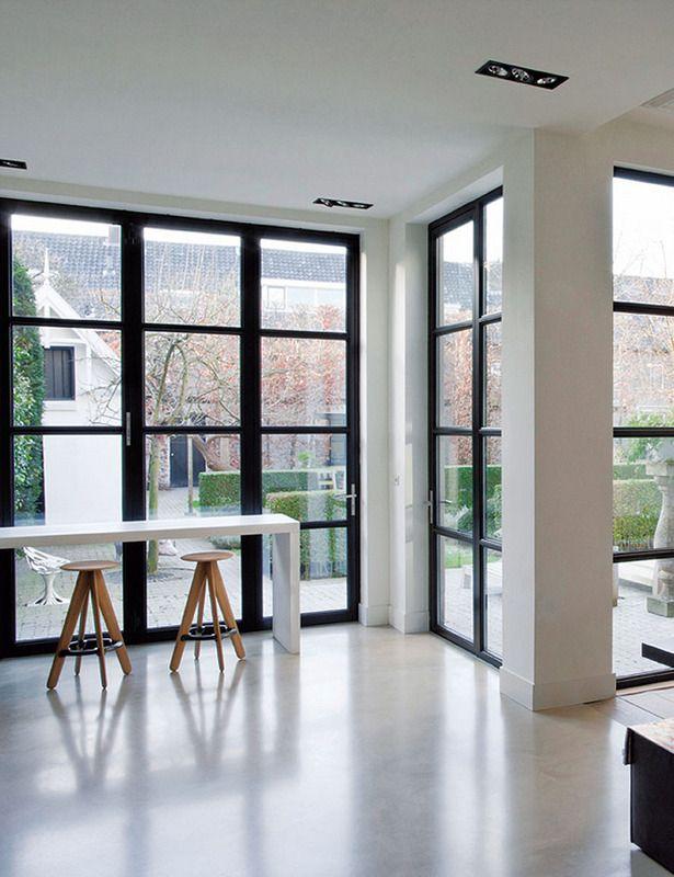 simple minimalist glass and wooden door design