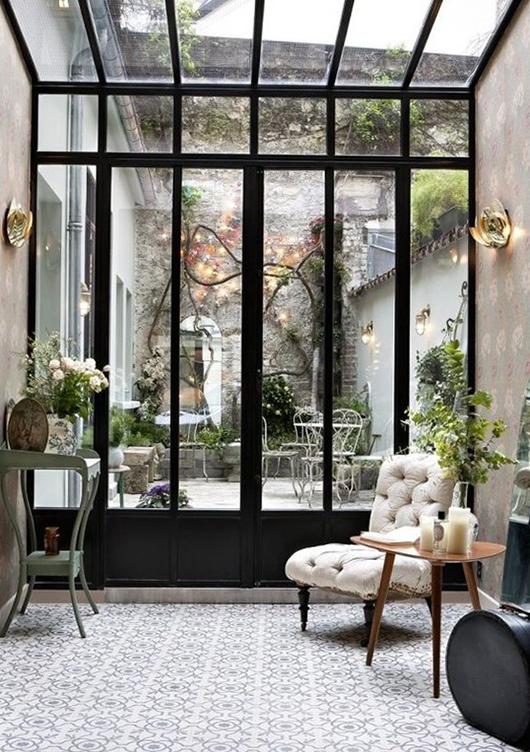 up down wooden glass door