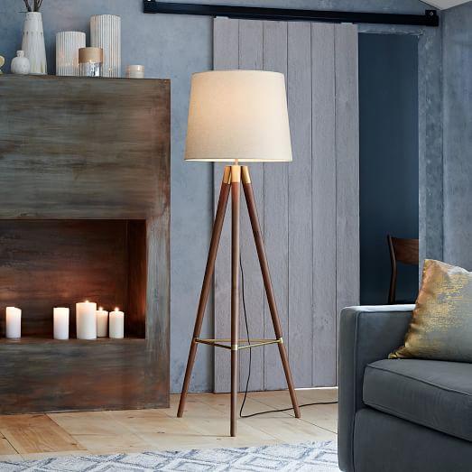 wood tipod floor lamp