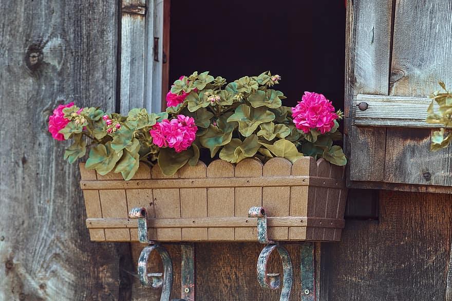 flower box floral decorations window log cabin geranium woodhouse balcony plants planters decoration