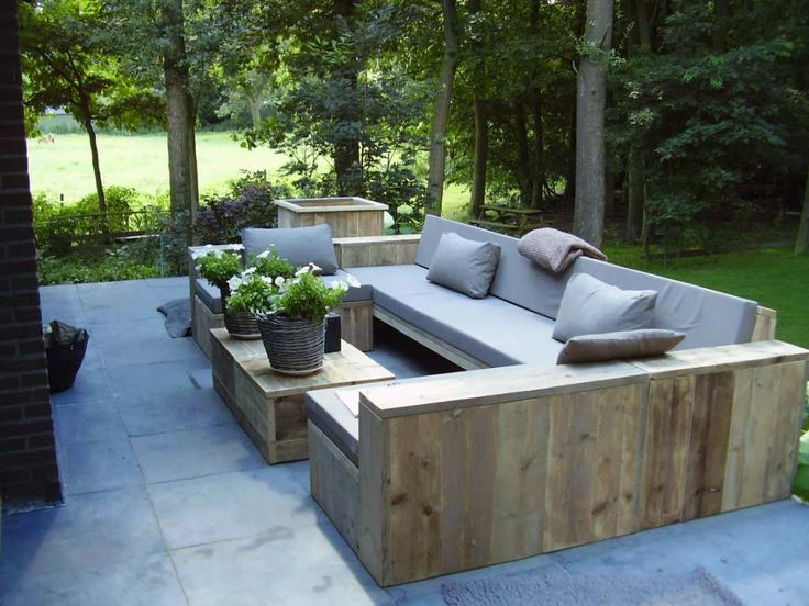 outdoor wooden lounge set ideas