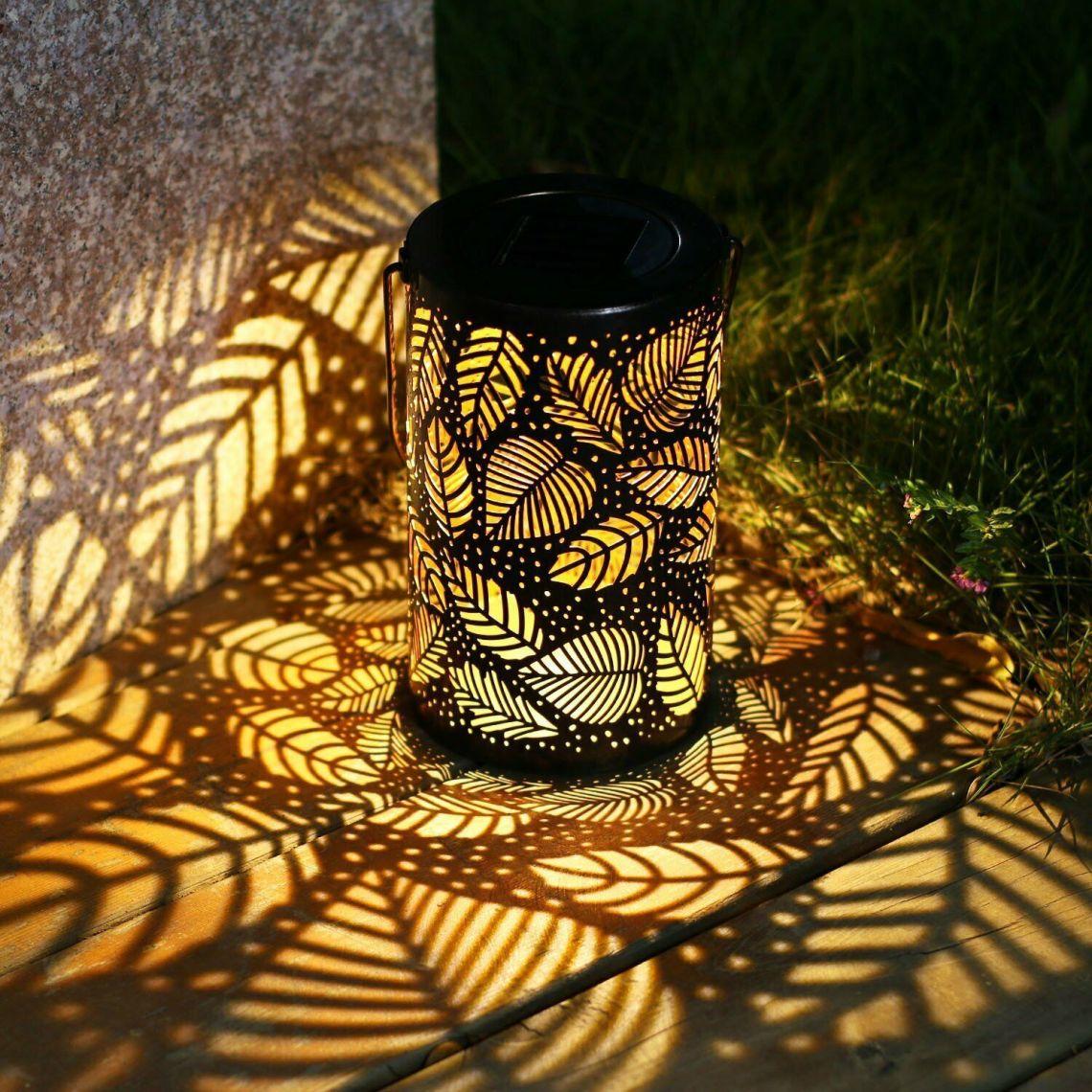 solar lantern lights outdoor garden hanging metal lamps