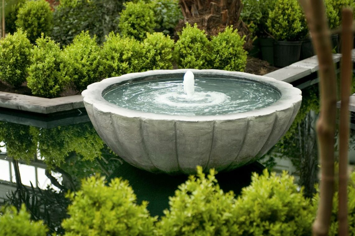 the fountain in the garden