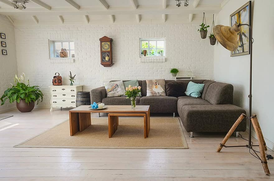 Square wooden table ideas with sofa furniture