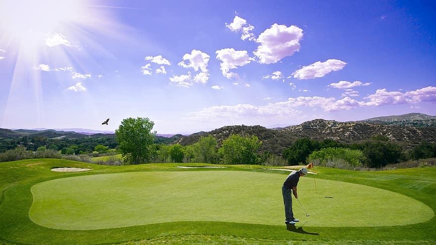 golf sunset sport golfer bat outdoor man human bless you