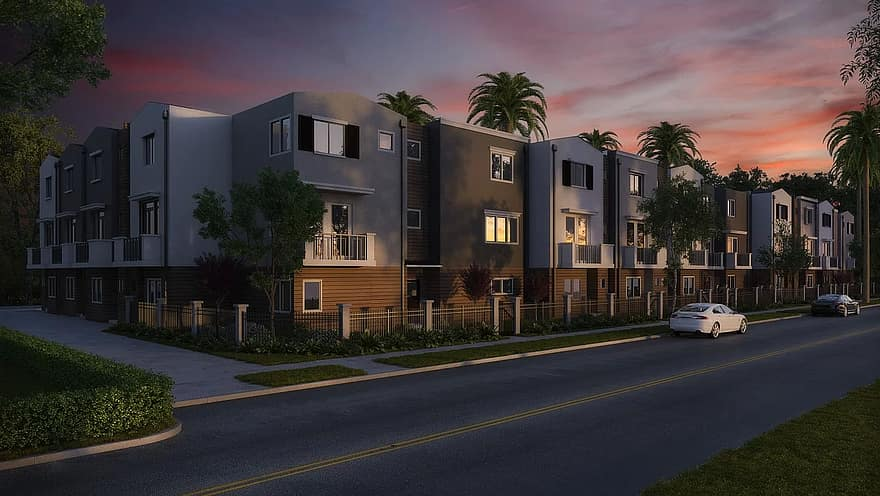 landscaping front yard condominium condo architecture apartment residential property home real estate housing