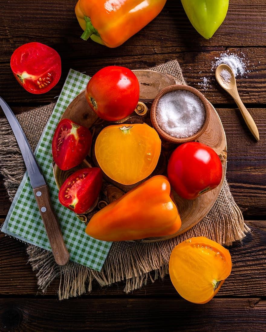 vegetables tomatoes harvest summer red food dacha greens vegetable garden