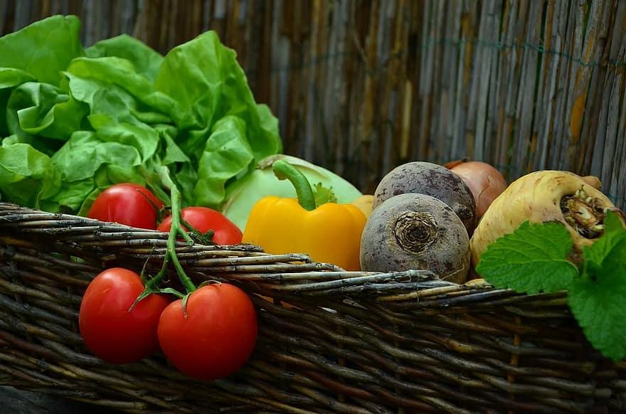 vegetables tomatoes vegetable basket salad garden harvest fresh vegetarian eat
