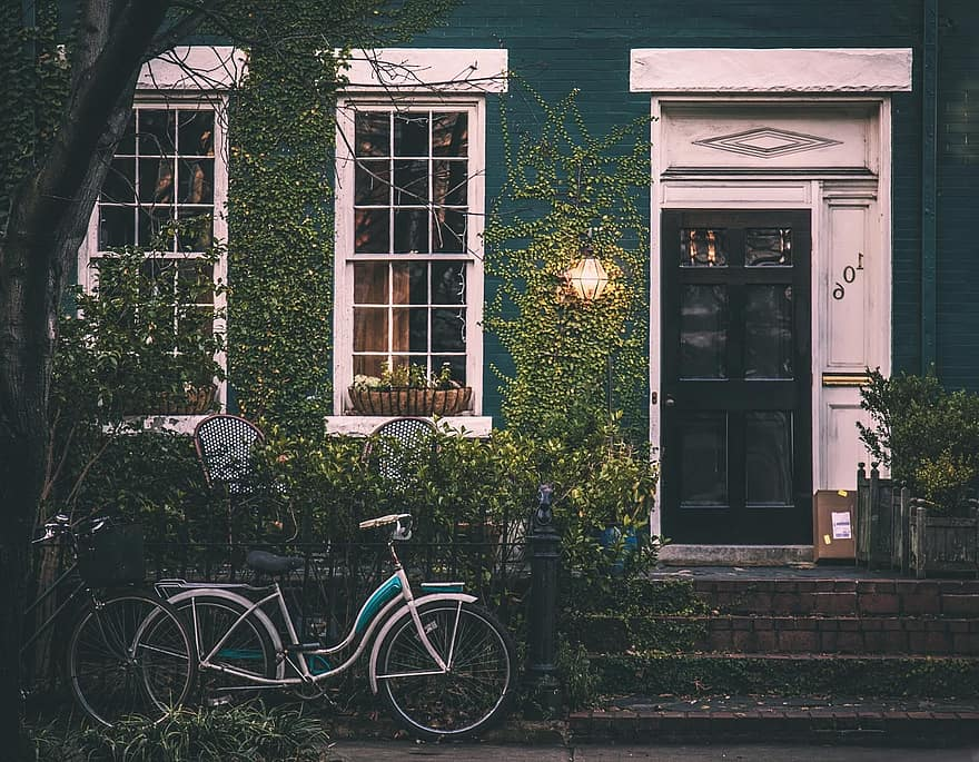 vintage house bicycle home architecture exterior old house house exterior outdoor