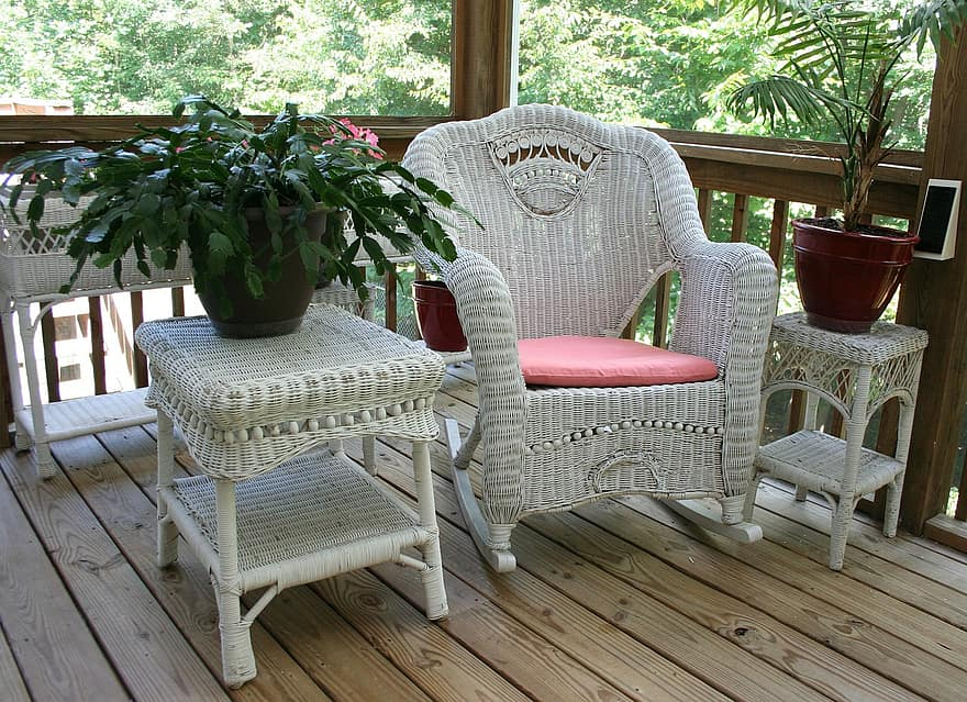 wicker rocking chair porch white table wicker home wood furniture seat relax