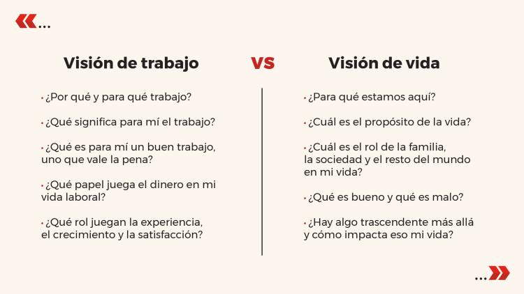 Vision de trabajo vs vision de vida