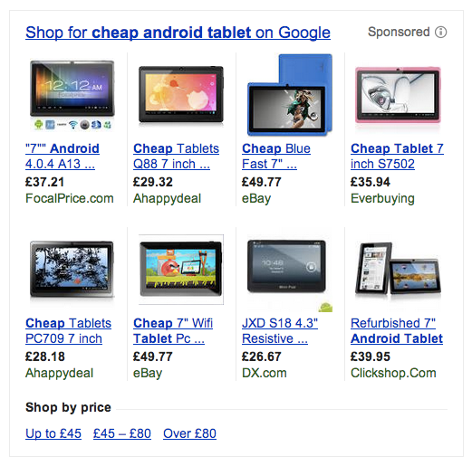 Some of the results of search for 'cheap android tablet'