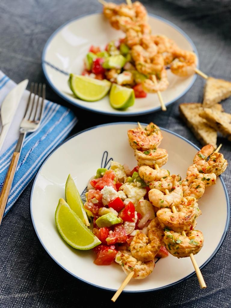 Chilli Lime Prawns & Feta Avocado Salsa