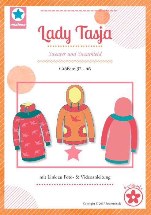 Lady Tasja Papierschnittmuster große: 32 bis 46 - Sweater und Sweatkleid für Damen - Damenschnittmuster farbenmix