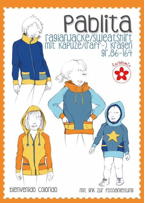 Paula, Pablita und Pablo Papierschnittmuster Raglanjacke Sweatshirt von bienvenido colorido über farbenmix.