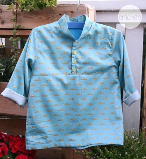 Bjarne ein tolles Hemd - auch schön zur Einschulung - selbstgenäht mit Schnittmuster von farbenmix