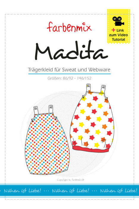 Trägerkleid Madita überarbeitetes Papierschnittmuster und Ebook von farbenmix - Sweatkleid, Trägerkleid aus Webware