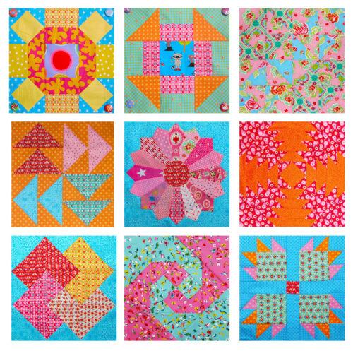Übersicht Sabine von Farbenmix 6 köpfe 9 Blöcke - für den Quiltalong