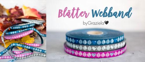 neue byGRaziela Webbänder bei farbenmix im Shop in pink grau und petrol - Blätter und Herzen Webband