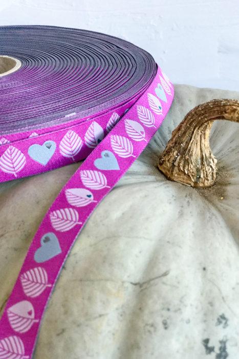 byGraziela Webband in pink - neu im Shop: Blätter und Herzen