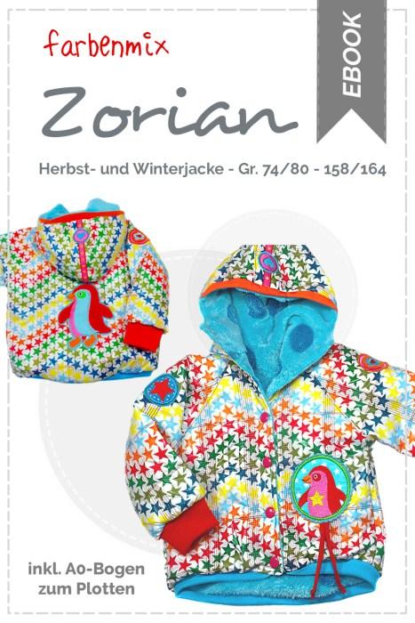 neu überarbeitete farbenmix Schnittmuster als ebook die Herbstjacke und Winterjacke Zorian - Winterjacke nähen - Größe 74 bis 164