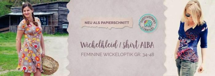 Wickelkleid ALBA von bienvenido colorido jetzt auch als Papierschnitt bei farbenmix. Näh dir ein tolles Wickelkleid oder Shirt mit Wickeloptik. Auch für Nähanfänger geeignet.